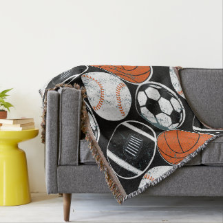 Team sport balls throw blanket
