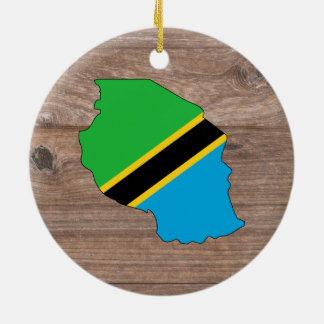 Team tanzania Flag Map on Wood Round Ceramic Ornament