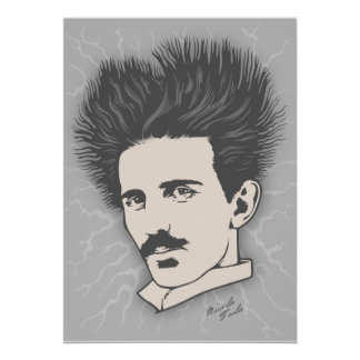 Team Tesla Static Hair Poster