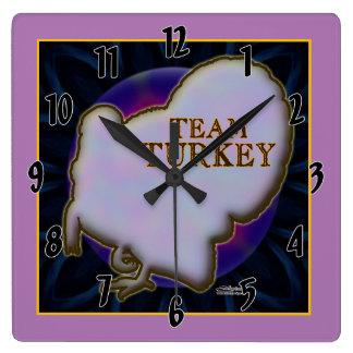 Team Turkey Square Wall Clock