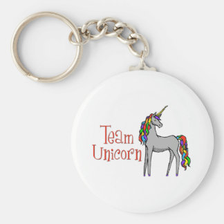 Team Unicorn Rainbow Basic Round Button Keychain