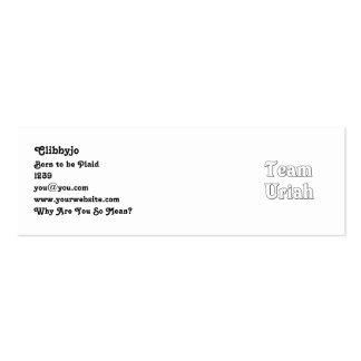 Team Uriah Pack Of Skinny Business Cards