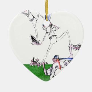 team work - cricket, tony fernandes ceramic heart ornament