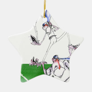 team work - cricket, tony fernandes ceramic star ornament