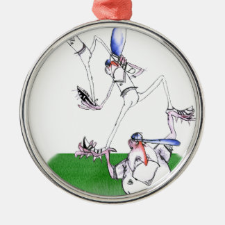 team work - cricket, tony fernandes Silver-Colored round ornament
