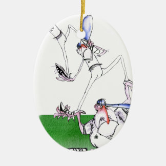 team work - cricket, tony fernandes ceramic oval ornament