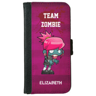 Team Zombie Cute Zombie Girl Illustration iPhone 6 Wallet Case