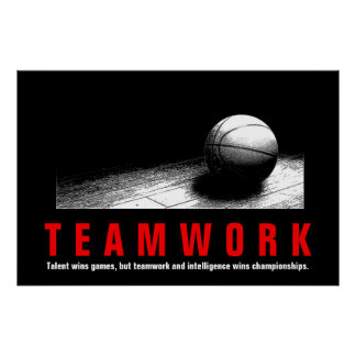 Teamwork Basketball Inspirational Quote Players Poster