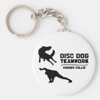 Teamwork Border Collie Disc Dog Keychain