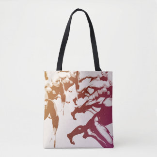 Teamwork Concept and People Running Tote Bag