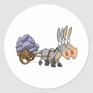 teamwork donkeys mules cartoon classic round sticker