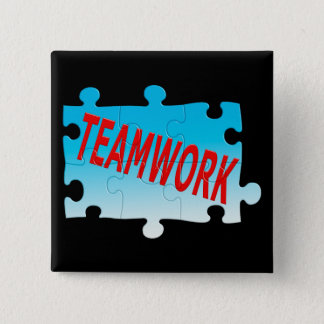 Teamwork Jigsaw Puzzle 2 Inch Square Button