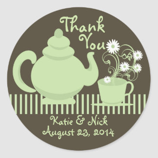 Teapot and Daisies Green Espresso Round Sticker