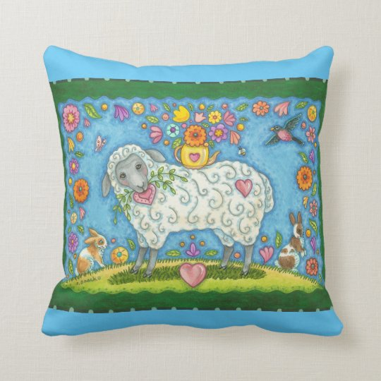 Teapot And Posies Sheep THROW PILLOW