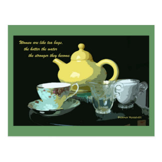 teapot and tea postcard