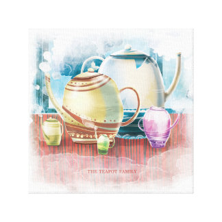Teapot Family painting Canvas Print