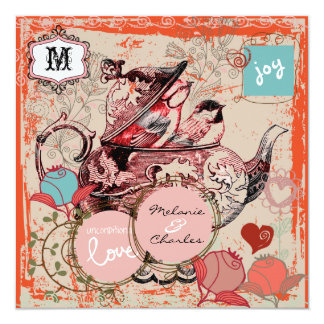 Teapot Fantasy Grunge Square Wedding Invitation