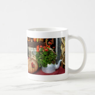 Teapot Filled With Geraniums Coffee Mug