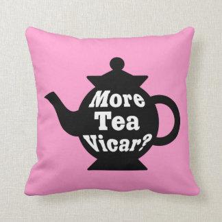 Teapot - More tea Vicar? - Black and White on Pink Throw Pillow