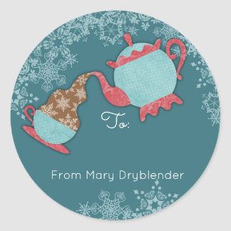 Teapot pouring snowflakes from the kitchen of classic round sticker
