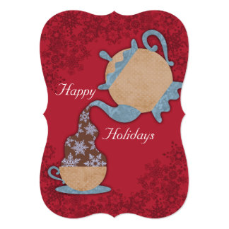 """Teapot pouring snowflakes in tea cup Christmas 5"""" X 7"""" Invitation Card"""