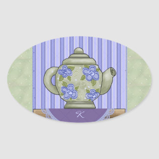 Teapot Quilt Block Monogram Sticker