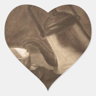 Teapot Still Life Heart Sticker