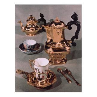 Teapot, sugar bowl, chocolate pot and mug postcard