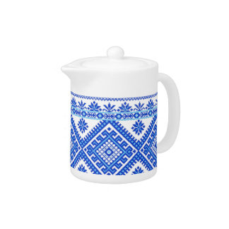 Teapot Ukrainian Cross Stitch Embroidery Blue