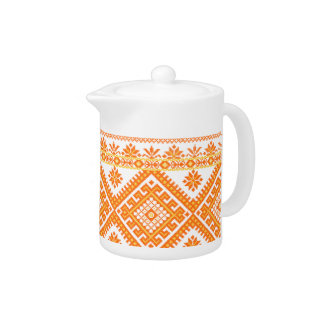 Teapot Ukrainian Embroidered Orange Print