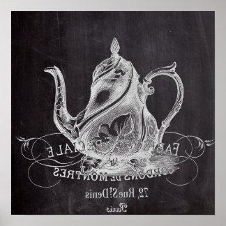 teapot vintage Chalkboard bridal shower tea party Poster