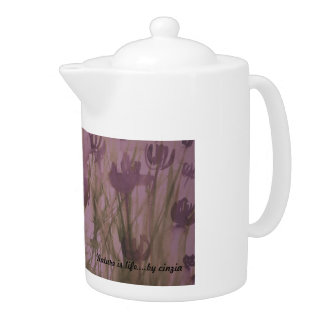 Teapot with hadpainted purple flowers