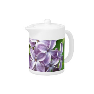 teapot with photo of beautiful purple lilacs