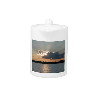 teapot with photo of silver-lining sunset