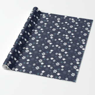 Teapots and Flowers Wrapping Paper