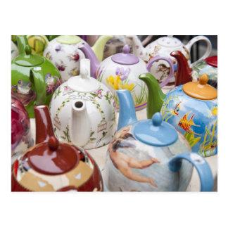 Teapots on sale in Leipzig, Germany Postcard