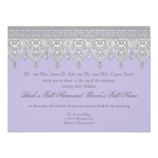 Tear Drop Lace, Lavender & Grey - Wedding Invite