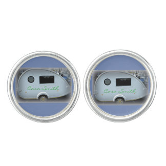 Teardrop gypsy caravan happy glamping cuff links