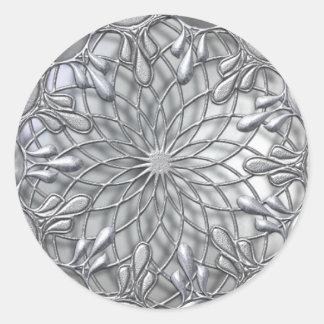 Teardrop Jeweled Silver Sticker