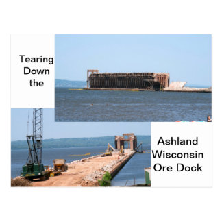 Tearing Down The Ashland Wisconsin Ore Dock Postcard