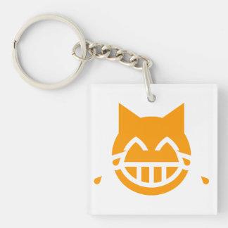 Tears of Joy Emoji Cat Double-Sided Square Acrylic Keychain