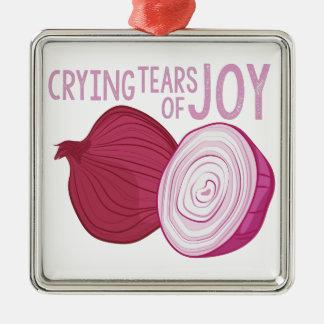 Tears Of Joy Silver-Colored Square Ornament