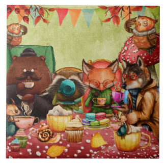 Teatime in Forest with Woodland Friends Tile