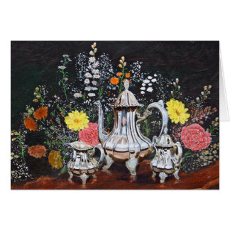 Teatime in the Garden by Jim Ivey--Blank Notecard