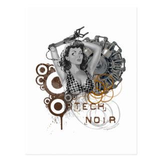 Tech noir pulp steampunk dame postcard