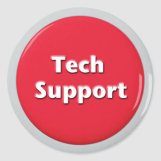 Tech Support Red Panic Button Classic Round Sticker