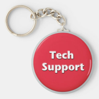 Tech Support Red Panic Button Keychain