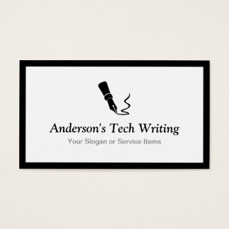 Tech Writer - Classic Black and White Pen Logo Business Card