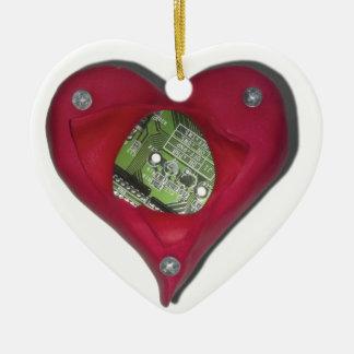 Techie at Heart Ceramic Heart Ornament