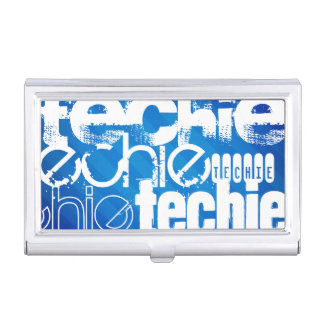 Techie; Royal Blue Stripes Business Card Holders